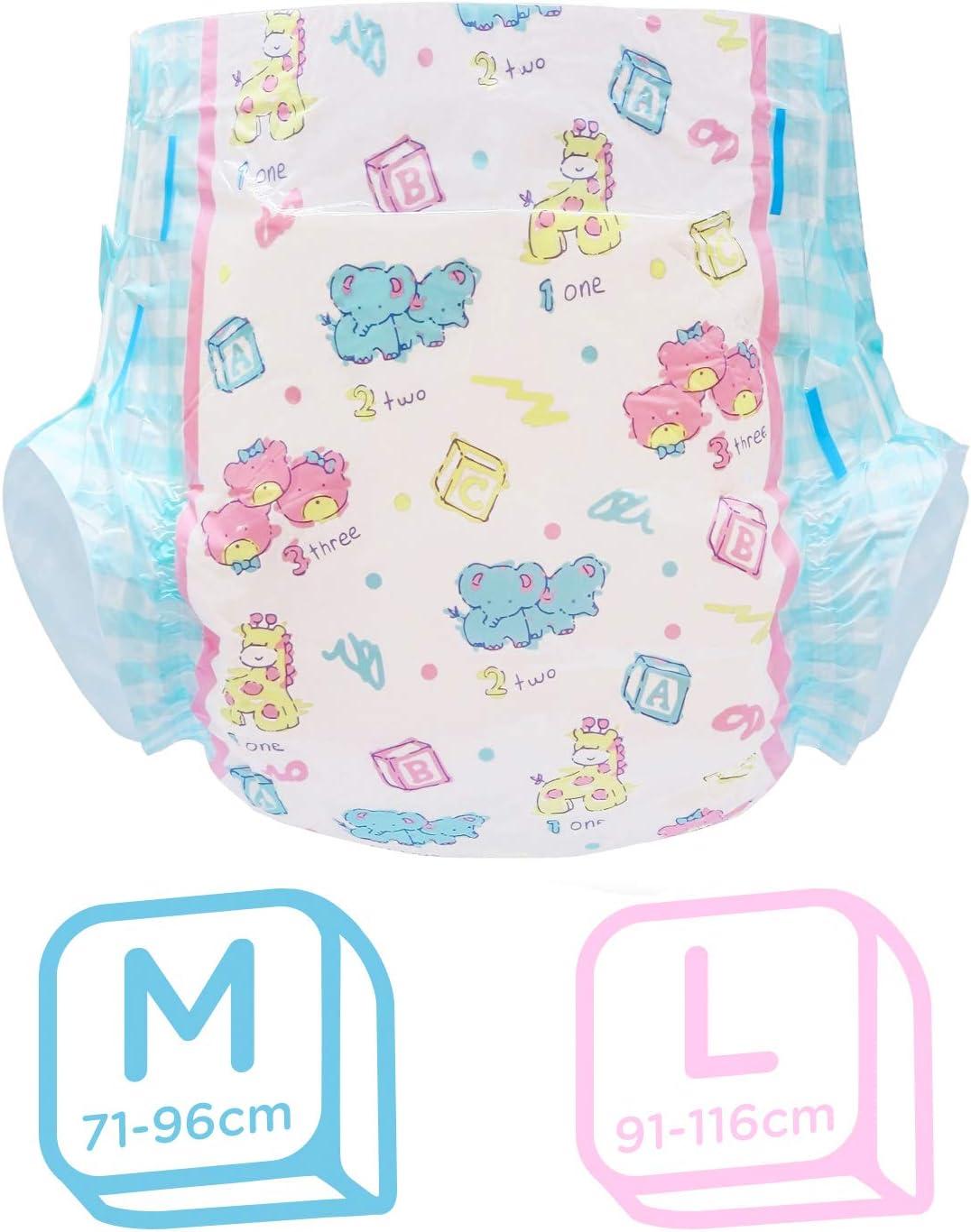LittleForBig gedruckt Erwachsenen Slip Windeln Erwachsene Baby Windel Liebhaber ABDL 2 St/ück-Baby Cuties M