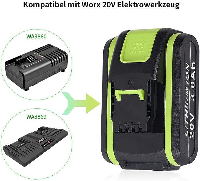 3 Ah Jialitt Bater/ía de repuesto para Worx 20V Max Lithium WA3551 WA3551.1 WA3553 WA3553.1 WA3553.2 WA3572 WA3641