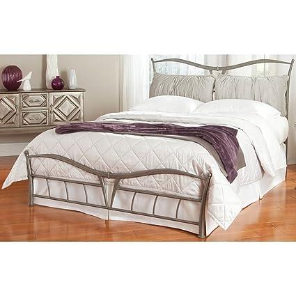 watch d3db5 72d43 Leggett & Platt Lotus Snap Bed with Detachable Headboard Pillows and  Folding Metal Side Rails, Brushed Pewter Finish, California King