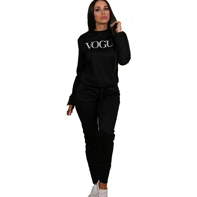 New Womens Vogue Print Top Bottoms Loungewear 2 Pcs Co-Ord Set Fleece Tracksuit