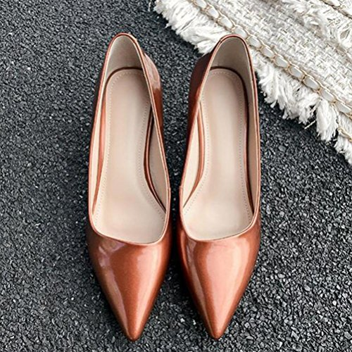 Champagne ruvolo color Primavera Apricot punta Donna Leather Banquet medio 2018 tacco pelle Genuine 34 Singolo blu a Party punta in Scarpe YWNC champagne New pRSq7BB