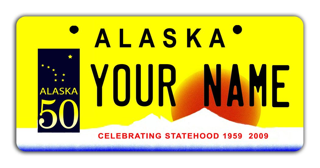 BleuReign Personalize Your Own Alaska State Bicycle Bike Stroller Children's Toy Car 3''x6'' License Plate Tag
