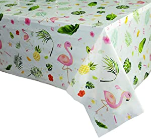 WERNNSAI Flamingo Tablecloth - 108''x 54'' Tropical Luau Party Disposable Plastic Table Cover Pineapple Party Supplies for Kid Girl Picnic Birthday Party Decoration