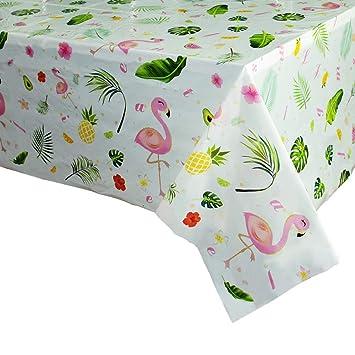 WERNNSAI Mantel Rosa de Fiesta Flamenco - 110 x 180cm Ananas Tablecloth Desechable Plastico, Suministros de Fiesta para Niña Picnic Decoraciones de ...