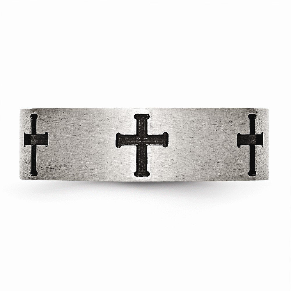 Jewel Tie Stainless Steel 7mm Black IP-Plated Crosses Brushed//Polished Wedding Band