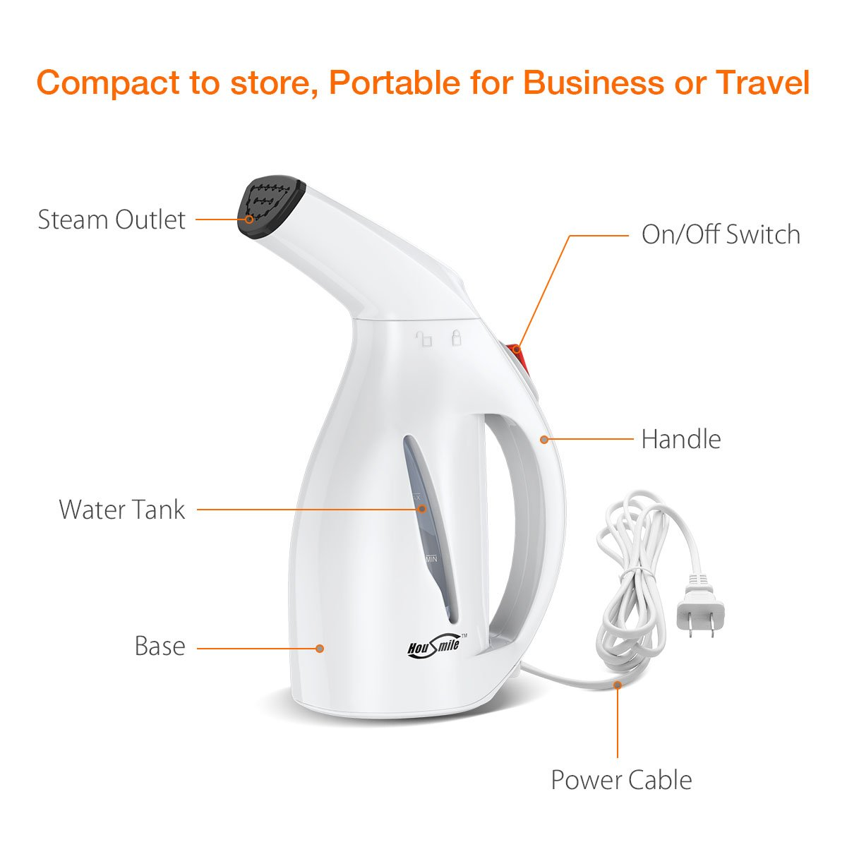 Housmile Garment Steamer 60ml Fast Heat-up Handheld Portable Fabric Clothes Steamer with Brush For Clothes Perfect for Home and Travel