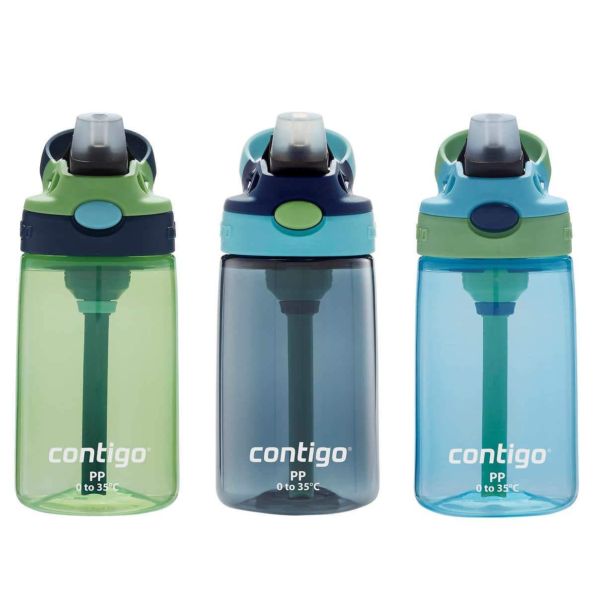 Contigo Kids Autospout Gizmo Water Bottles, 3 Pack 14oz (Green/Vert/Verde)