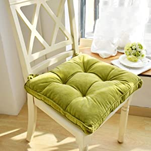 """Nathime Soft Patio Outdoor Chair Pads with Ties Home Decor Indoor Dining Chairs Cushion 16.9""""×16.9""""×3.8"""" Green"""