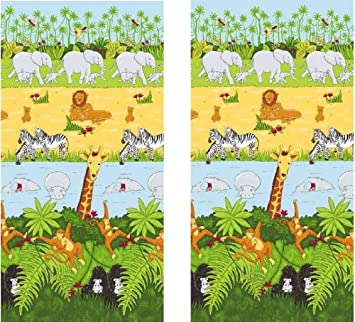 Rideaux Jungle Safari Cheeky Monkey 167 X 182 Cm Amazon Fr Cuisine