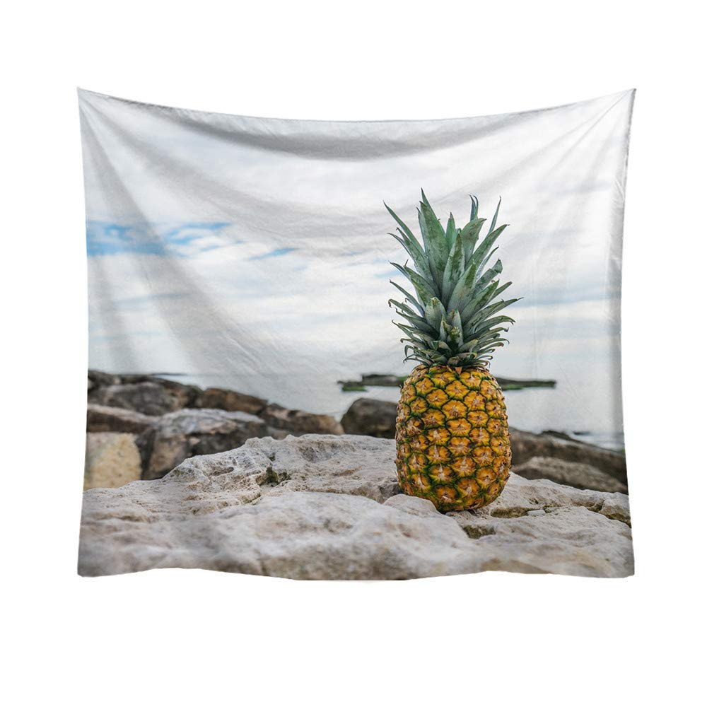 Weiliru Tapestry Wall Hangings Wall Blanket Art Dorm Shawl Beach Towel Throw Tapestry Decor Bedspread Bedroom Living Kids Girls Boys Room Dorm Accessories(Pineapple),95x73cm