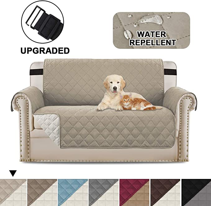 Image ofBellaHills Protectores de sofá Impermeables de 2 plazas de Mascotas/Perros Fundas de sofá Fundas de Muebles Antideslizantes Color Reversible (2 plazas, Caqui/Beige)