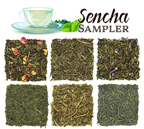 Green Loose Leaf Tea Assortment Sampler Perfect For Hot & Iced Tea - Sencha Variety Set of 6 Teas with Kyoto, Saga, Mandarin, Quince, Pomegranate & Chinese - Approx 90+ Cups -