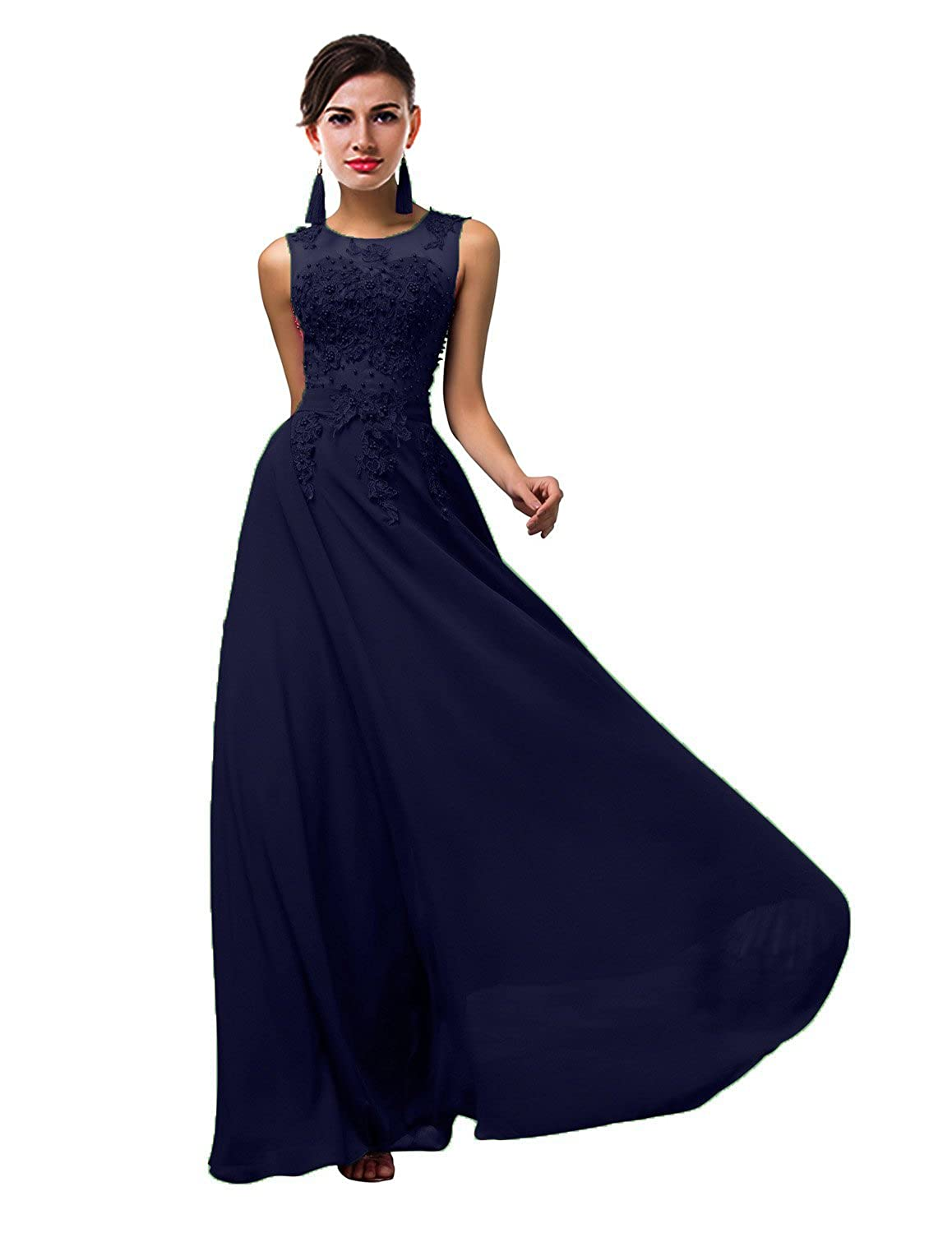 Navy bluee CaliaDress Women Tulle Appliques Long Bridesmaid Dress Prom Evening Gowns C002LF