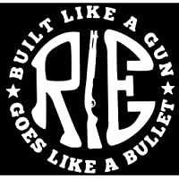 Onlinemart Re Like A Gun White Decal Sticker for Royal Enfield Bullet/Bike (11.5 X 11.5 cms) - Pack of 2