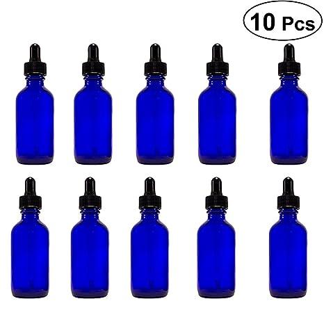 Frcolor Botellas de vidrio para aceites esenciales, 10pcs 20ml botella ámbar vacío reutilizable accesorios de