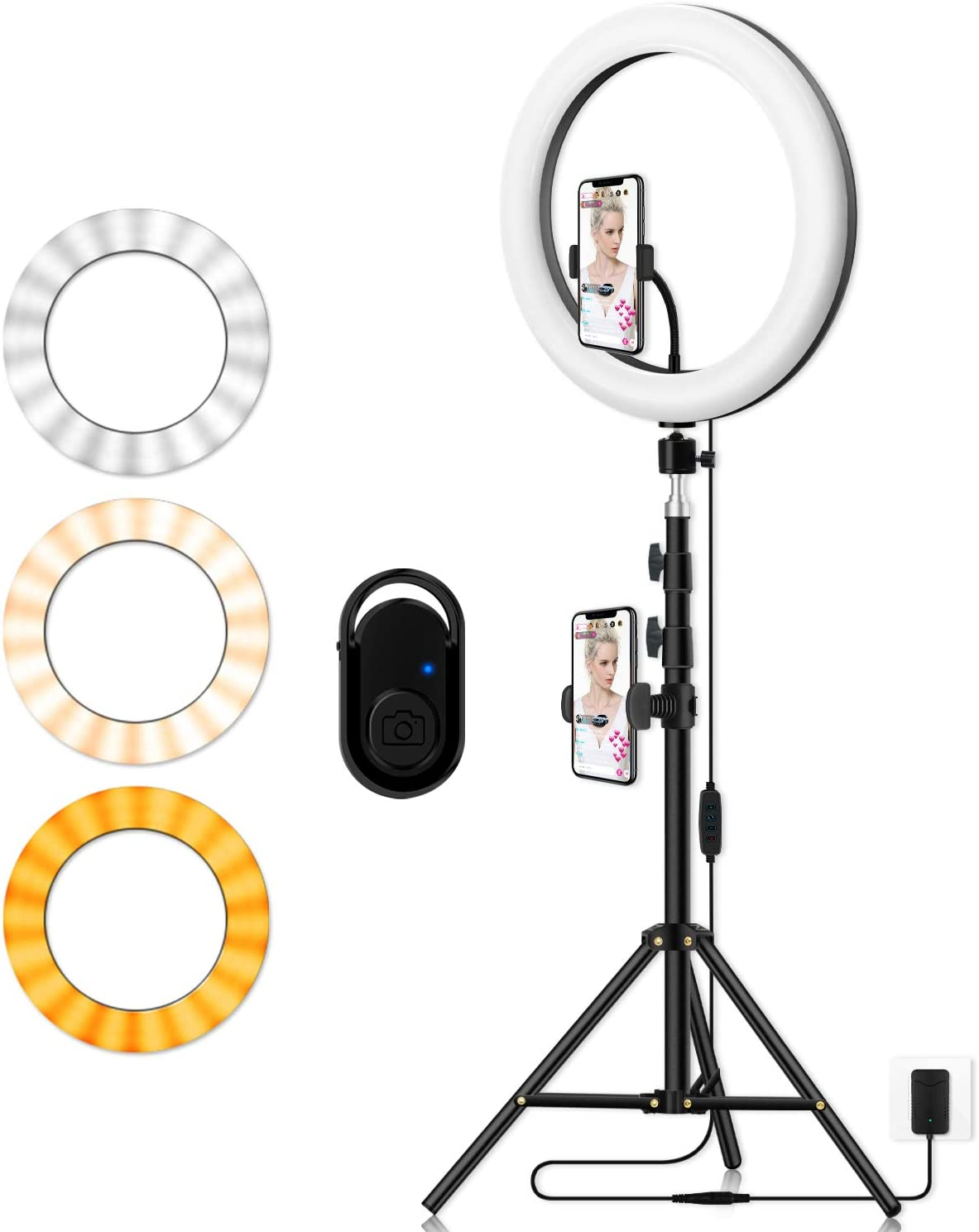 Photography Ring Light with Tripod Holder: Yingnuost 14-inch Dimmable LED Circle Lamp with Phone Holder & vlogging Camera Tripod Stand for Makeup | Streaming Live | YouTube TIK Tok Video Recording