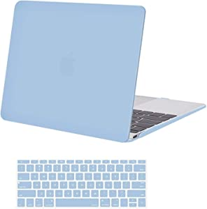 MOSISO Plastic Hard Shell Case & Keyboard Cover Skin Only Compatible with MacBook 12 inch with Retina Display (Model A1534, Release 2017 2016 2015), Airy Blue