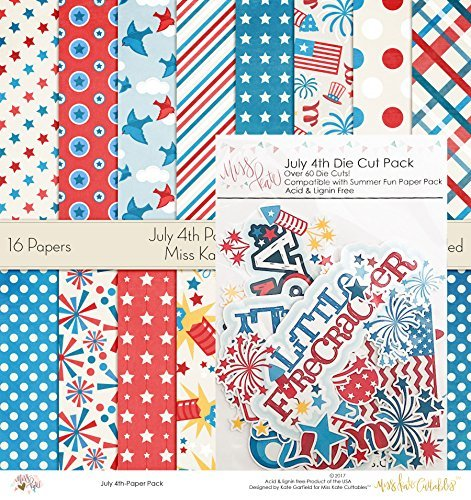(July 4th Set | Matching Die Cuts & Paper Kit by Miss Kate Cuttables | 16 Single - Sided 12