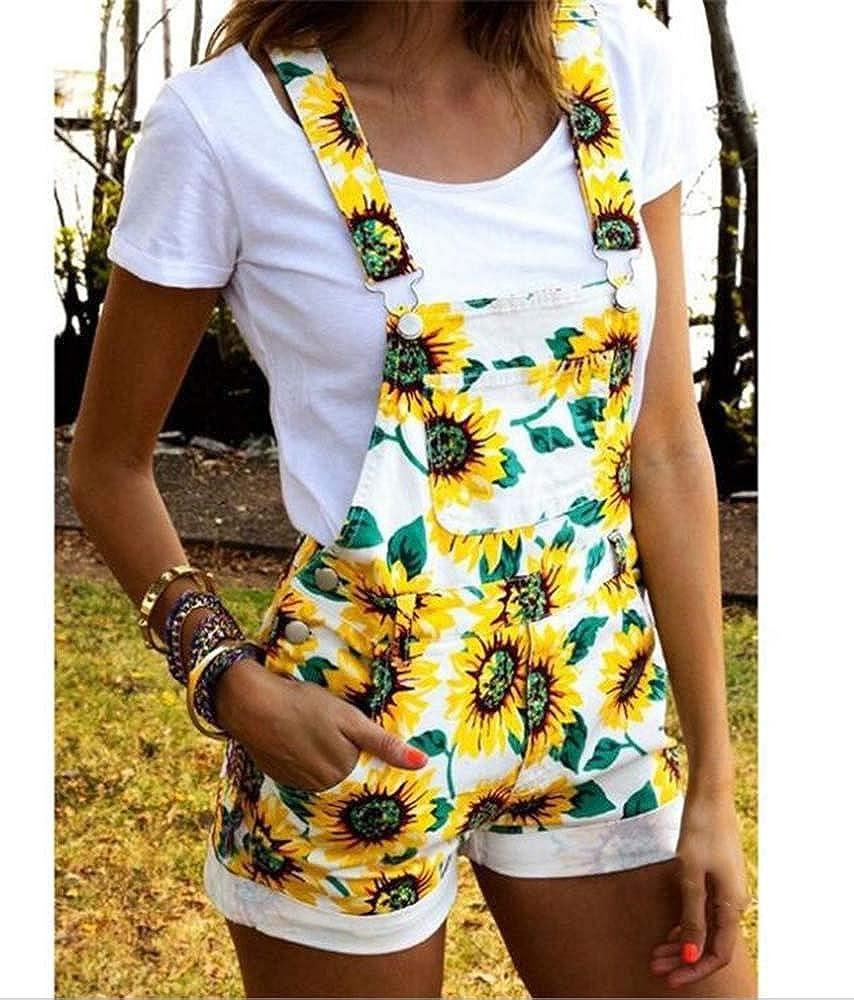 Hellomiko Mujeres Girasol Impreso Dungaree Overalls Shorts Jumpsuit Playsuit Mini Short Suspender
