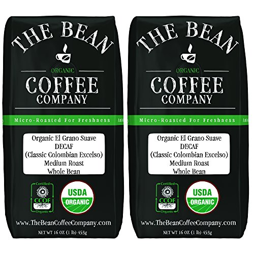 The Bean Coffee Company Organic Decaf El Grano Suave (Classic Colombian Excelso), Medium Roast, Ground, 16-Ounce Bags (Pack of 2) ()
