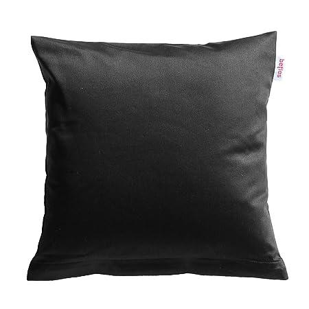 beties Mako Satin Kissenbezug 80 x 80 cm in 9 eleganten Uni Farben Schwarz 1 Stück (wählen Sie Ihren Bettbezug extra dazu)