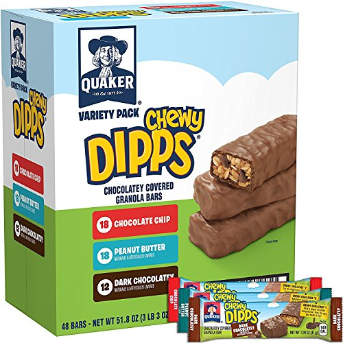 - Quaker Chewy Dipps Chocolate Covered Granola Bars Variety Pack, 48 Count (Packaging Will Vary)