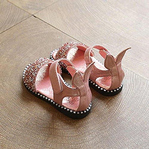 Tefamore Zapatos de la princesa de la moda de los niños, sandalias de punta abierta niñas orejas de conejo Rosado