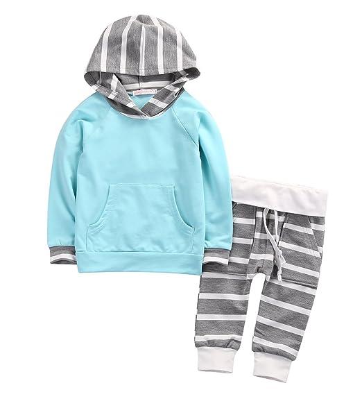 d2693ea93 Amazon.com  Newborn Baby Boy Girl Warm Hoodie T-shirt Top + Pants ...