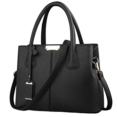 c5d4cd9a0710 Amazon.com  FiveloveTwo Women Classy Shoulder Crpssbody Satchel Handbags  Totes Clutch Purse Top-handle PU Leather Bag Black  Clothing