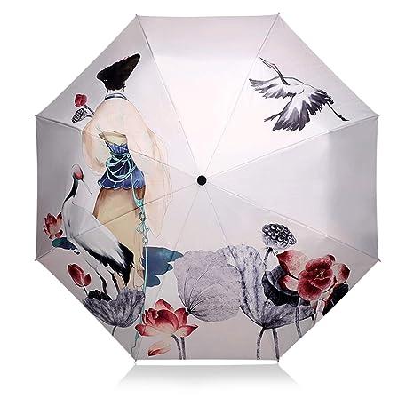 DORRISO Paraguas Plegable Mujer Ligero Viajar Ocio Multiuso y Resistente al Viento Impermeable 99% DE