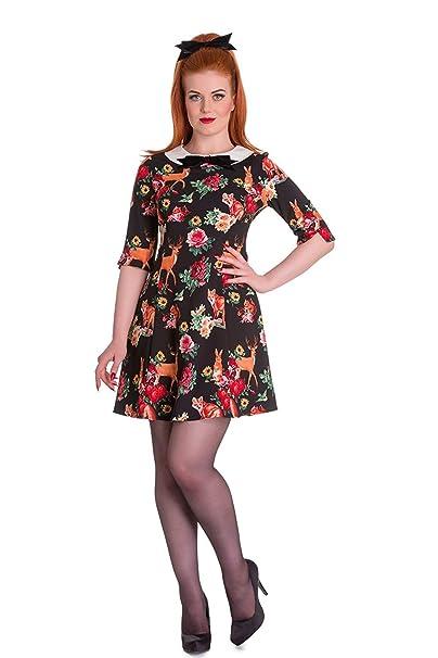 6fb1775be77c Hell Bunny Hermeline Vintage Retro 60s Style Animal Fox Print Tea Dress -  Black (XS