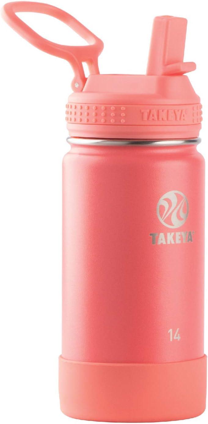 Takeya Kids Insulated Water Bottle w/Straw Lid, 14 Ounces, Watermelon