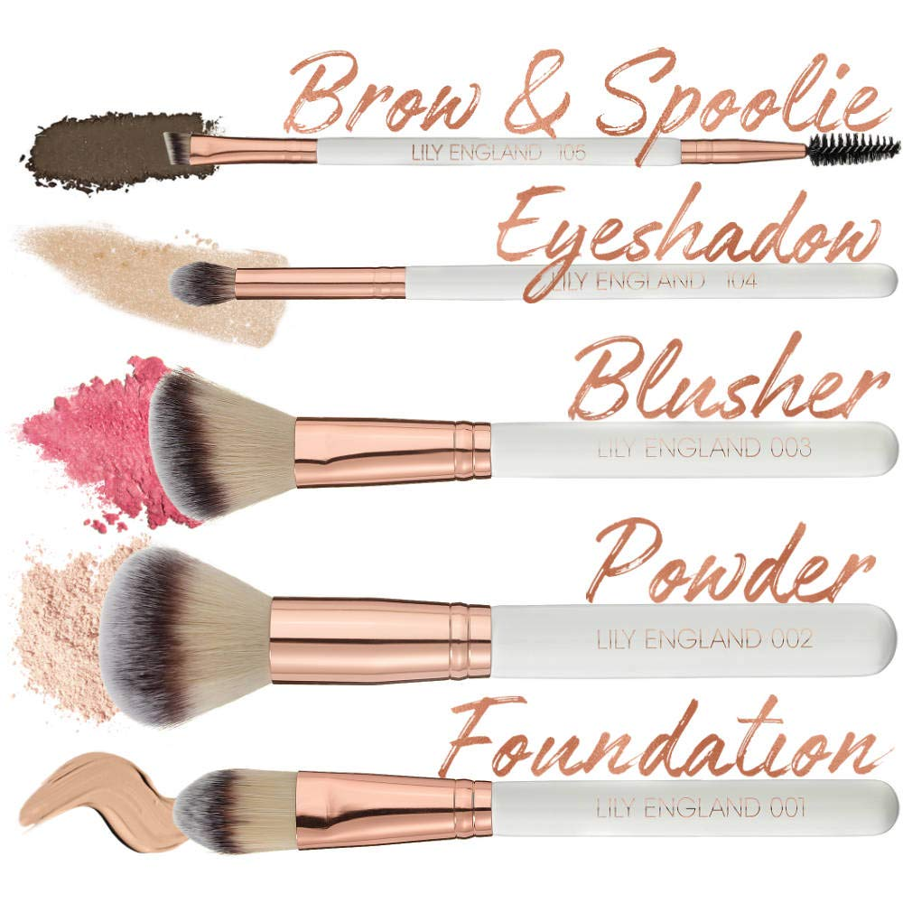 Lily England Kit de Maquillaje - 5 Brochas en Oro Rosa con ...