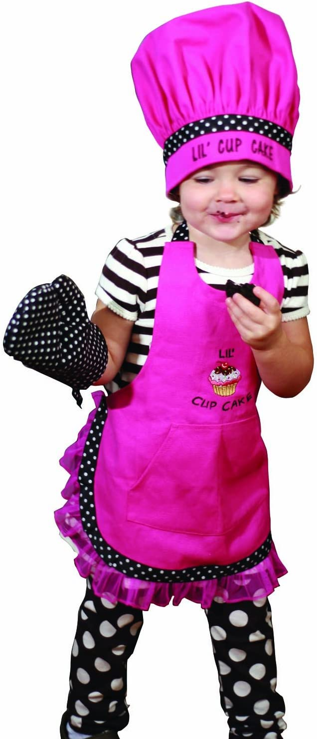 Manual Woodworkers and Weavers Child's Kitchen Apron, Hat, and Oven Mitt Set Lil' Cupcake