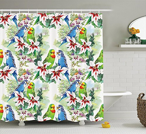 [Parrots Decor Collection A Pair of Parrots on a Branch Flower Tree and Nature Exotic Forest Summertime Image Polyester Fabric Bathroom Shower Curtain Green Blue] (Parrot Costume Ebay)