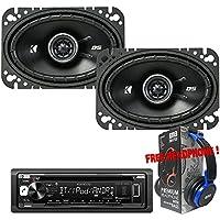Package Kenwood KDC-BT265U Bluetooth CD/AM/FM Car Stereo Receiver + (1) Pair Kicker 43DSC4604 4x6 2-way Speakers + 1 EMB Headphone