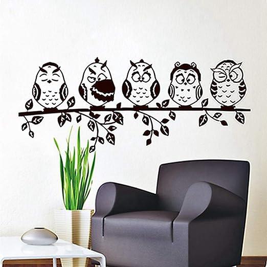 Cinco café bebé búho tatuajes de pared de PVC impermeable ahueca ...