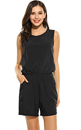 0eb5aa7358 Amazon.com  POGTMM Summer Loose Casual Rompers and Jumpsuits for Women with  Pockets  Clothing