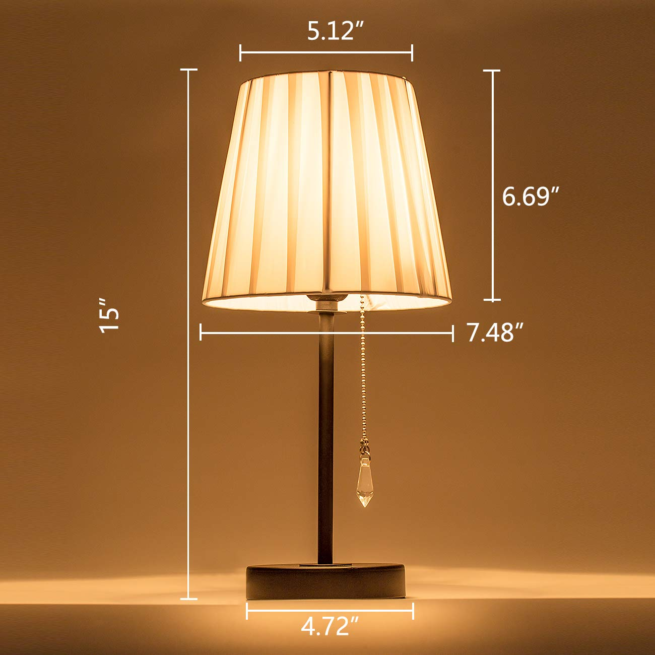Lanros Nylon Shade Small Table Lamp With Crystal Pull