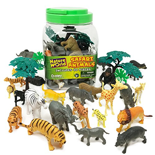 BOLEY 40 piece Bucket of Safari Animals - Assorted Jungle Animals Educational Toys for - Target Hours Ca