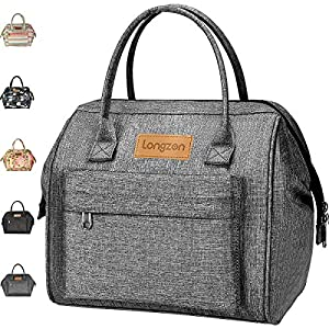 Sac Isotherme Repas, longzon15L Grande capacité Isothermal Lunch Box Isotherme Bag Boite Repas,Sac Isotherme Bureau, Insulated Cooler Bag Sac à Lunch Office Meal pour Homme,Femme,Enfant,Bebe-Gris 3