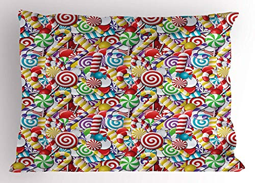 XGUPKL Candy Cane Pillow Sham, Bonbons Lollipops Sugary Treats Sweeties Colorful Pile for Festive Occasions, Decorative Standard Queen Size Printed Pillowcase, 30 X 20 inches, - Satin Pie Sweetie
