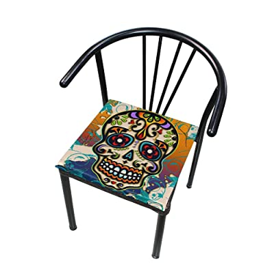 """Bardic HNTGHX Outdoor/Indoor Chair Cushion Sugar Skull Flower Square Memory Foam Seat Pads Cushion for Patio Dining, 16"""" x 16"""": Home & Kitchen"""