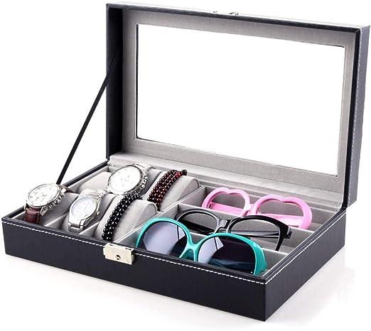 GOVD Cajas Relojes con Tapa de Cristal Estuche para Guardar Relojes para Relojes, joyería, Negro: Amazon.es: Hogar