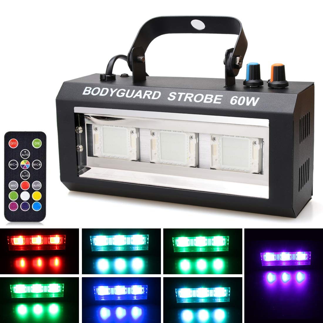 Halloween LED Strobe Light,Sound Activated Party Lights 7 Colors Dj Lighting, RBG Disco Ball Light, Strobe Lamp 7 Modes Stage Par Light for Home Room Dance Parties Bar Karaoke Xmas Wedding Show Club by Luditek