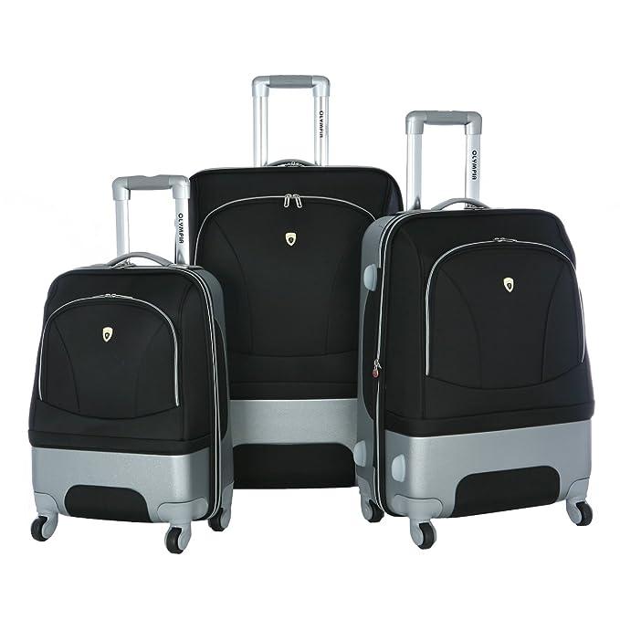 Amazon.com | Olympia Luggage Majestic 3 Pack Expandable Set, Black ...