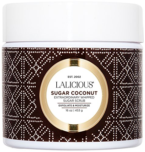 LALICIOUS Sugar Coconut Extraordinary Whipped Sugar Scrub - Cane Sugar Body Scrub with Coconut Oil & Honey, No Parabens (16 Ounces)