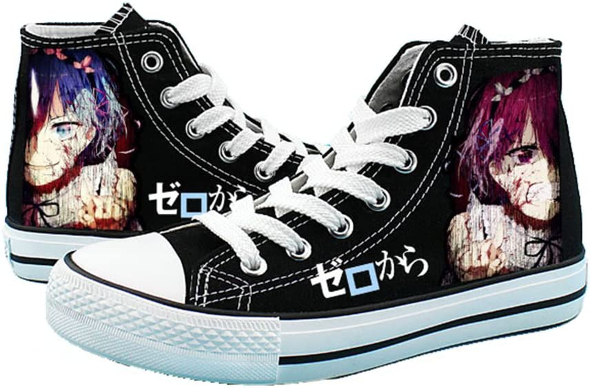 Telacos Re:Zero Starting Life in Another World Cosplay Shoes Canvas Shoes Sneakers Black/White 2