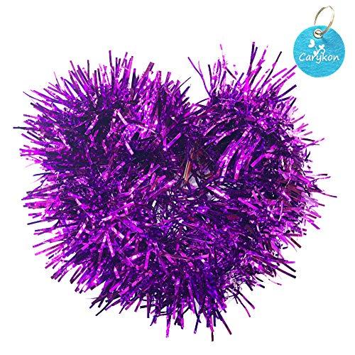(Carykon Elegant Hanging Sparkly Tinsel Garland, 5 Pcs, Each 3 Inch W x 6 Feet L, Holiday Decoration (Purple))