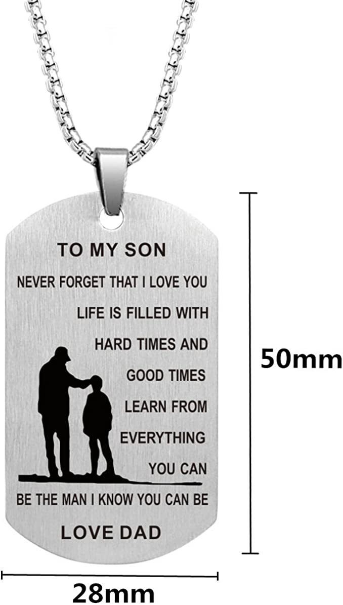 Dad Mom To Son Dog Tag Necklace Military Mens Jewelry Custom Stainless Steel Pendant Love Birthday Gifts
